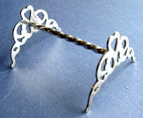 Edwardian Kniferest English Silver Plated Andiron Heart Cut Out Barley Twist 1890-1910