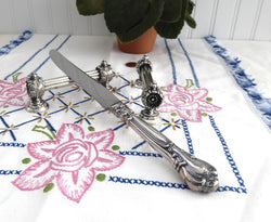 Fancy Kniferest Pair English Silver Plate Classical Daisy Ends Leaves 1890s Victorian
