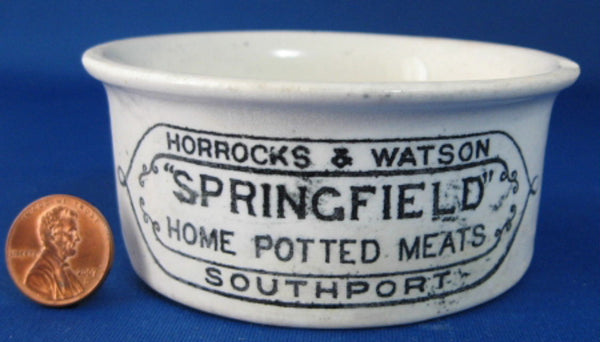 Antique English Crock Horrocks And Watson Potted Meat Mid Victorian Era