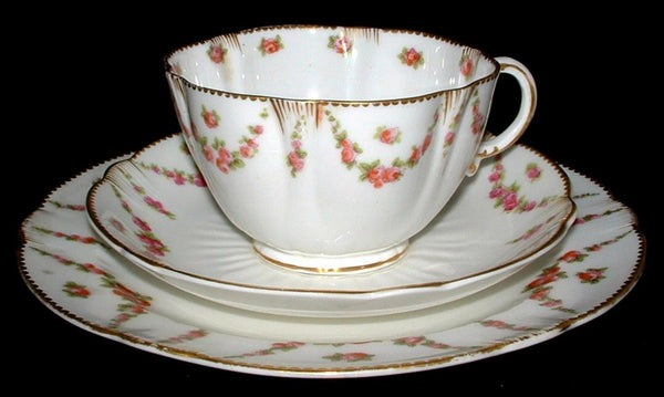 George Jones And Sons Rose Swag Teacup Trio Victorian Bone China