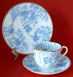Antique Teacup Trio Worcester Grainger Floral Seaweed Mid Victorian Era