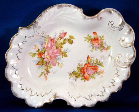 Ornate Bowl Grimwades England Roses Embossed Gold Trim Victorian Edwardian
