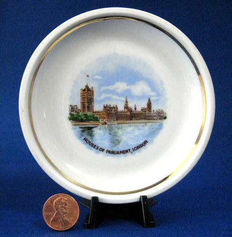 Houses Of Parliament London Souvenir Plate 1890s German Hand Colored