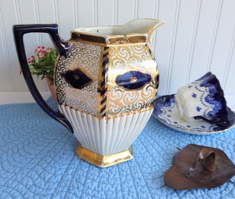 English Imari Pitcher 1880s Gaudy English Jug Britannia Hamered Copper Lid