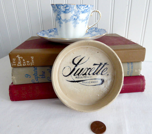 Victorian Era Luxette Advertising Dish Antique English Crock Soap Dish Coaster 1890s