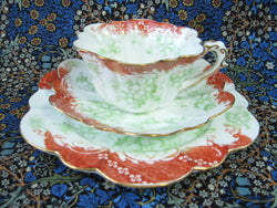 Wileman Pre Shelley Teacup Trio Empire Rust Green Floral Scrolls