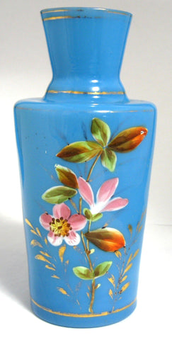 Victorian Vase Blue Bristol Glass Victorian Hand Painted English 1880-1890s Victorian Home Decor
