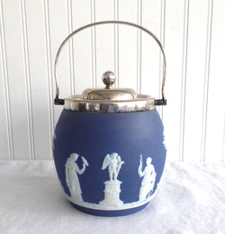Wedgwood England Biscuit Barrel Blue Jasperware Dip Blue 1890s Sacrifice Figures