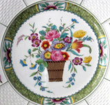 Wedgwood Pearl Ware Plate Hand Colored Flower Basket 1890s Victorian