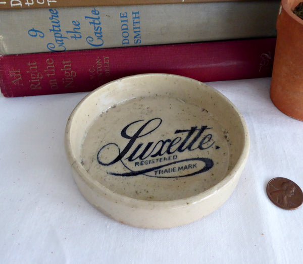 Antique English Luxette Advertising Dish Crock Victorian Era Soap Dish Coaster