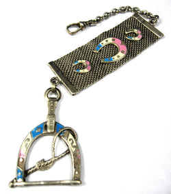 Edwardian Equestrian Theme Sterling Silver Pocket Watch Fob Blue Pink Enamel Horse Riding
