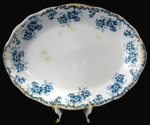 Large Blue Transferware Platter Blue Floral Trentham Ironstone 1890s Floral