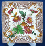 Brown Transferware Daisies Wall Tile English Victorian Era 1891 Architectural Tile Trivet