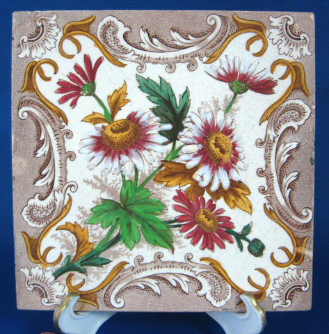 Victorian Transferware Tile Daisies 1891 English Architectural Tile Trivet Original