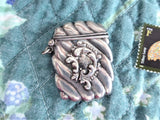 Victorian Era Stamp Case Chatelaine Hallmarked Sterling Silver Watch Fob 1890s