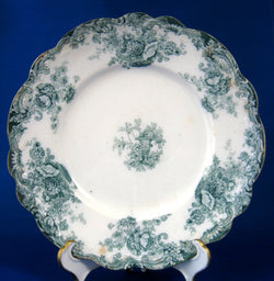 Teal Transferware Plate Wilkinson Arcadia Antique Floral England 8 Inches