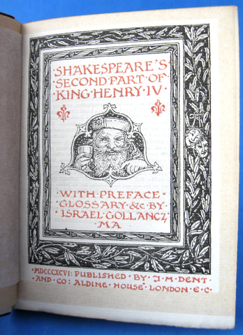 Antique Book Shakespeare King Henry IV Part II Hardback 1896 Castle Engraving