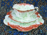 Wileman Pre Shelley Teacup Trio Empire Rust Green Floral Scrolls Victorian