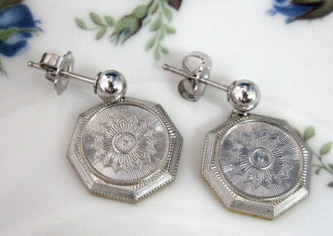 Earrings Solid 14kt Gold From Antique Cufflink Engraved Starburst Edwardian