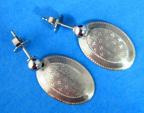 Edwardian 14k Gold Cufflink Earrings Antique Hand Engraved Stars 14kt Posts