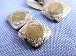 Edwardian Cufflinks Sterling Silver 10k Gold Floral Engraved 1900 Hinged Cuff Links 10kt