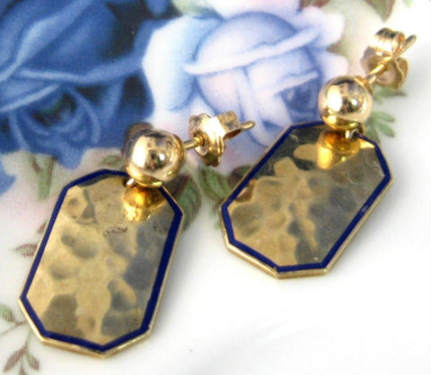 Edwardian Earrings Solid 14kt Gold Hand Hammered 1900-1910 Cufflink Blue Enamel
