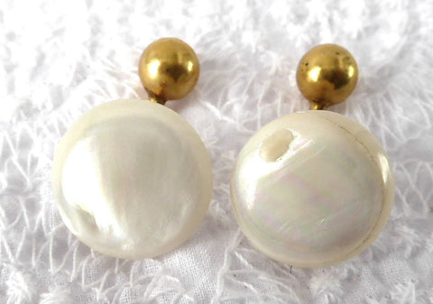 Edwardian Cuff Links Mother Of Pearl Ball And Post Back 1900 Antique Gold Plated MOP Cufflinks