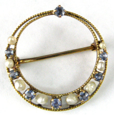 Pearl Aquamarine Edwardian Brooch Pin 10kt Gold Circle 1900 March June Birthstones