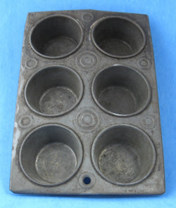 Tin Muffin Pan 6 Small Cups English Circa 1900 Edwardian Gem Pan Baking Pan