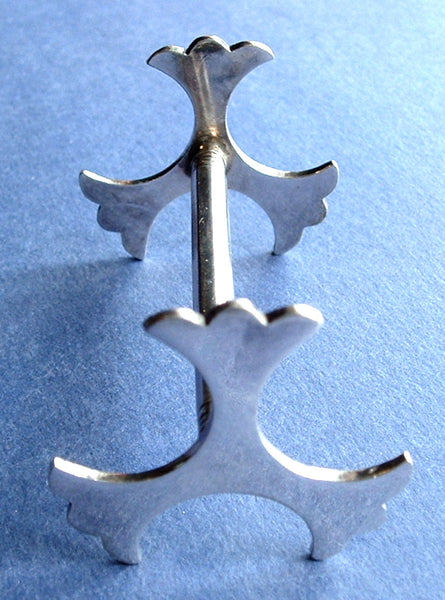 Edwardian Knife Rest Pair English Silver Plate Trefoil Ends Leaves 1930s Art Deco