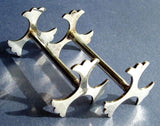 Edwardian Kniferest Pair English Silver Plate Trefoil Ends Leaves 1930s Art Deco