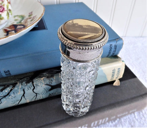 Edwardian Hatpin Holder Souvenir Bournemouth Photo Waffle Glass Bottle England