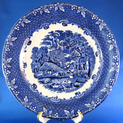 George Jones And Sons Farm Blue Transferware Dinner Plate 10.25 Inches