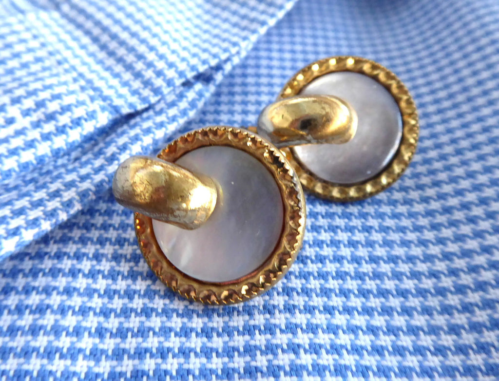 Edwardian Mother Of Pearl Cuff Links Gold Filled Trombone