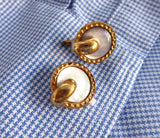 Edwardian Mother Of Pearl Cuff Links Gold Filled Trombone Backs Shirt Studs 1900
