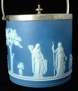 Edwardian Wedgwood Biscuit Jar Dark Blue Jasper Dip Offering To Peace Ceres 1900