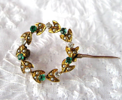 Edwardian Brooch Pin 9kt Gold Wreath Diamonds Emeralds Pearls Hand Made 1900