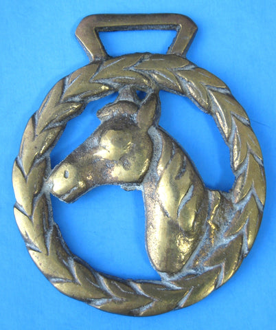 Antique English Horse Brass 1900 Horse Head Husk Wreath Harness Brass
