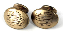 Edwardian Cufflinks Gold Filled Bean Back Initials W G M 1900-1910 Engraved Cuff Links