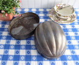 Tin Pudding Mold Melon Shape Antique English Edwardian Dessert Mould AS IS