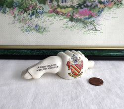 Edwardian Carlton Ware Crested China Pigs Foot And Hand Bolton Trotter 1900-1910s