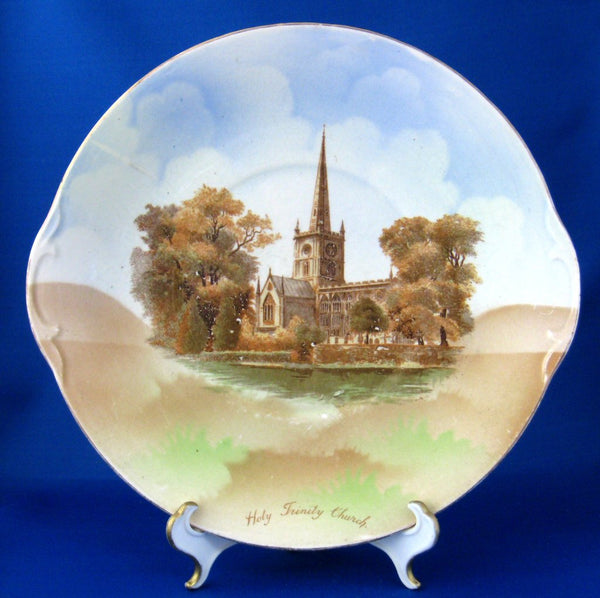 Edwardian Stratford-On-Avon Holy Trinity Church Lugged Cake Plate 1904-1906