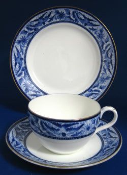 Shelley Teacup Trio Blue Swallows Bute Shape 1906-1910 Edwardian Era
