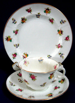 Adderleys Cup And Saucer wWith Plate Spray 96 Roses Pansy Chintz 1910s