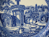 Blue Transferware Plate Landscape Midwinter Antique Edwardian Era Ruins 8 Inch