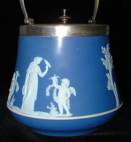 Wedgwood Biscuit Barrel Dark Blue Jasper Dip Sacrifice Edwardian Era Silverplate Mounts