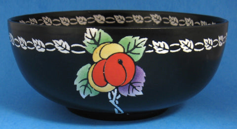 Shelley England Bowl Black 3 Damsons Fruit Art Pottery 1910s Matte Black Edwardian
