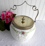 Edwardian Shelley Biscuit Barrel Green Key and Rose Rare 1910 Cookie Jar Bow Roses