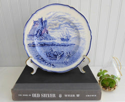 Marine Landscape Plate Blue Transferware Galleon Steventon 1910s Sailing Ship