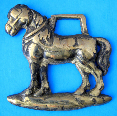 Horse Brass Standing Draft Horse English Souvenir Pub Edwardian 1910-1920s